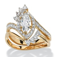 1.68 TCW Marquise-Cut Cubic Zirconia Two-Piece Halo Bridal ...