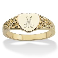 14k Yellow Gold-Plated Heart-Shaped Initial Ring at ...