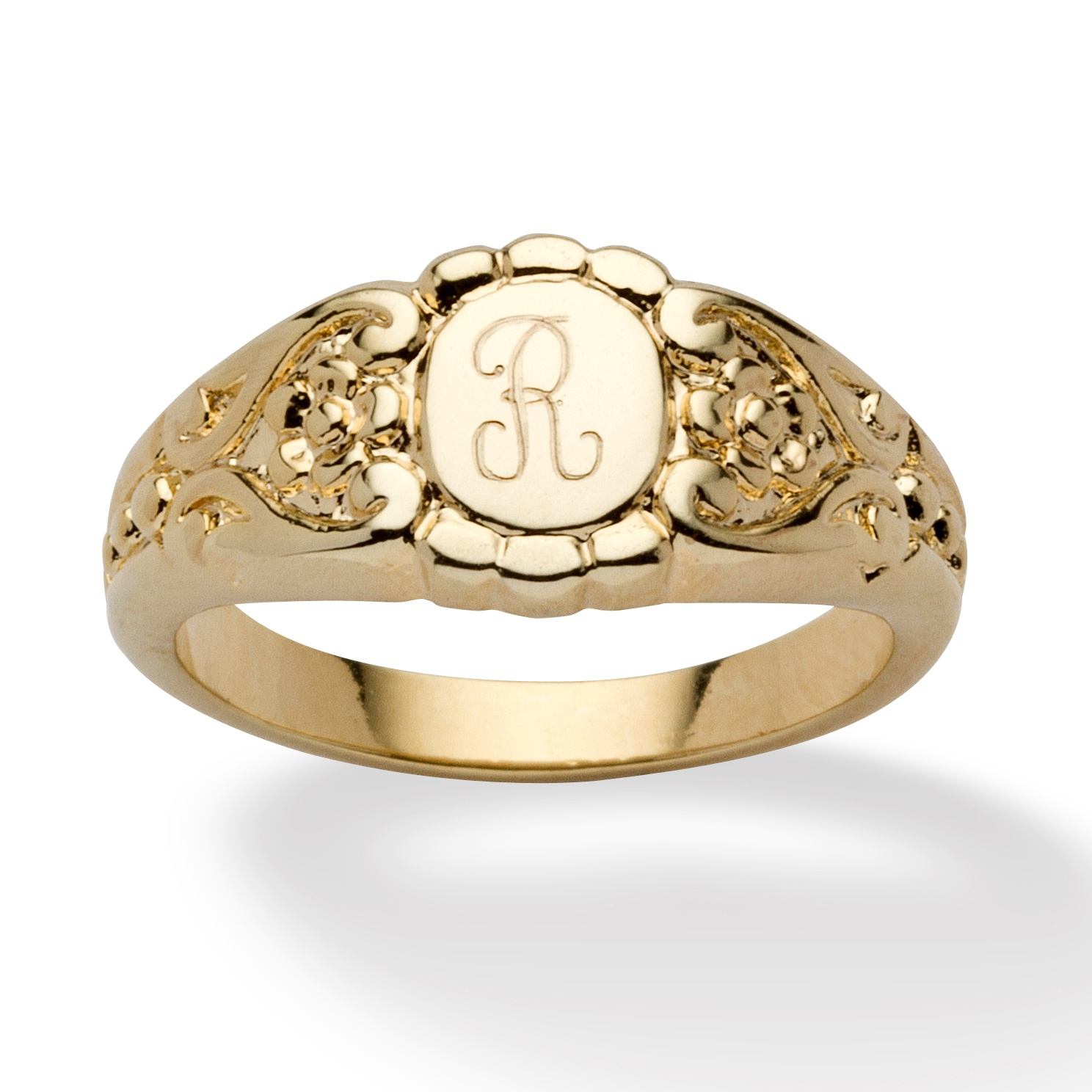 Personalized Signet Ring In 14k Gold Plated At PalmBeach