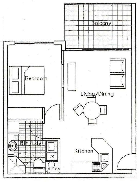Apartments 1 bedroom floor plan palm cove tropic - One bedroom apartment design ...