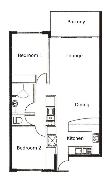 Floor Plan of 2 Bedroom Apartments