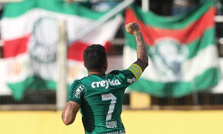 Cesar Greco/Ag. Palmeiras/Divulgação_O gol de Dudu neste domingo (28) fez com que o atacante se isolasse como vice-artilheiro do Verdão no século