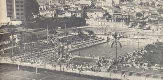 Imagem de inauguração das piscinas do Palmeiras.