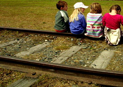 Sitting on the railroad tracks