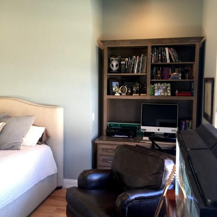 PDD design home downstairs bedroom bookshelf
