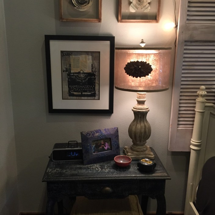 Eclectic nightstand artwork