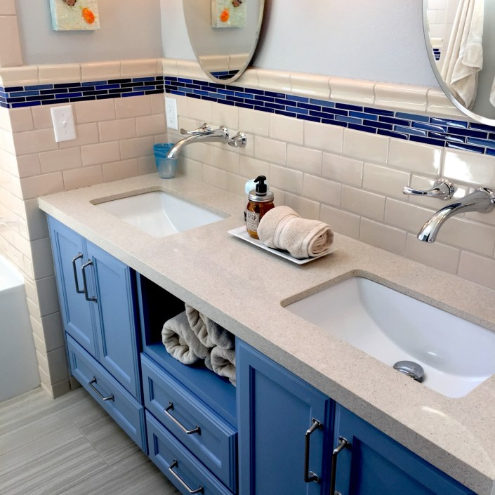 Modern bathroom with double sink for kids
