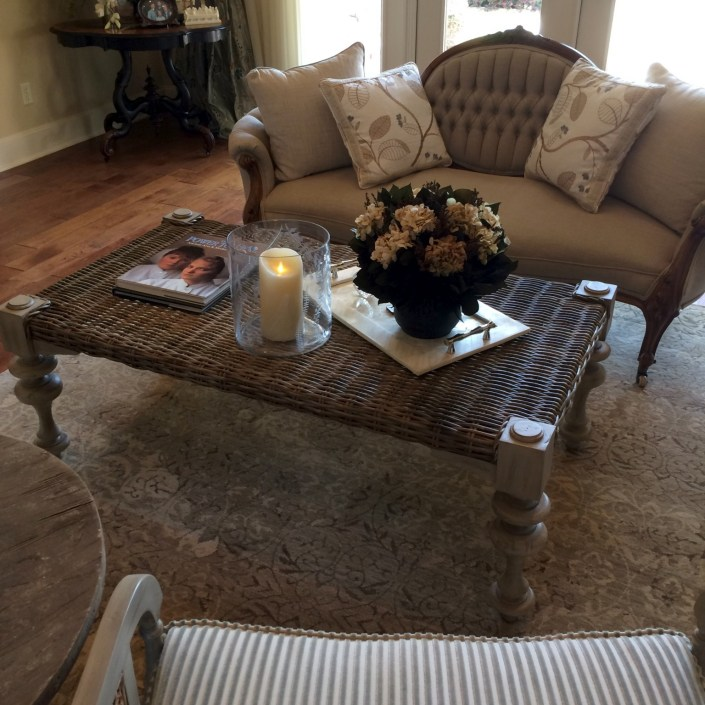 Traditional living room set and wicker coffee table