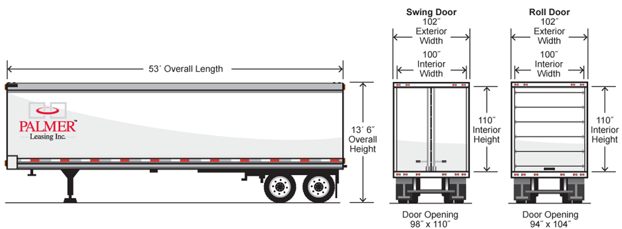 53 Foot Trailer Weight Diagrams Tractor-Trailer Diagram
