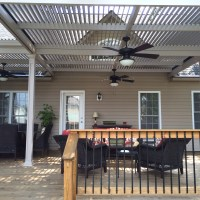 Louvered Roof Patio Cover installed in Boiling Springs, SC by Palmetto Outdoor Spaces.