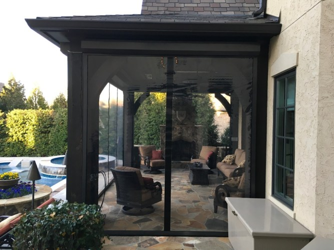 Clear Vinyl Motorized Retractable Porch Panels install in Charlotte-NC