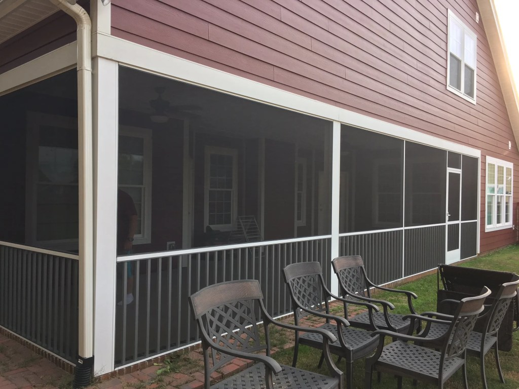 Screened in Porch with Super Screen mesh and hand rail