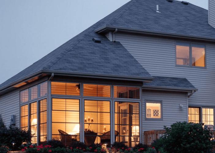 Eze-Breeze porch enclosure with transom windows