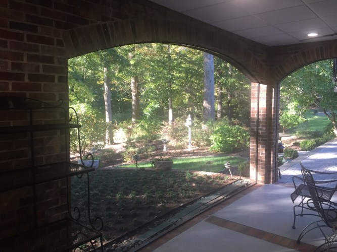 Greenville SC Porch Screened Arch Brick Patio Bronze Screen Framing