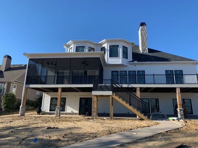 Porch Screening and Deck Railing Installed by Palmetto Outdoor Spaces Greer SC