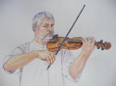 Drawings of street musicians. Dibujos de músicos callejeros