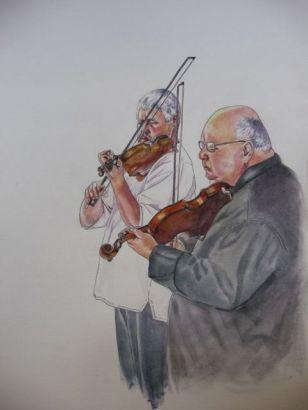 Drawings of street musicians. Dibujos de músicos callejeros.