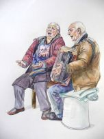 Watercolor drawings of street musicians. Dibujos de músicos en acuarela