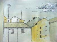 Dibujo de un rincon en Lavapiés en acrílico y tinta