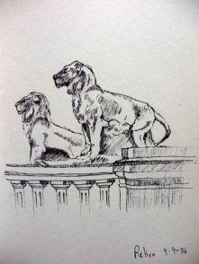 Dibujo de los leones del Retiro en Madrid