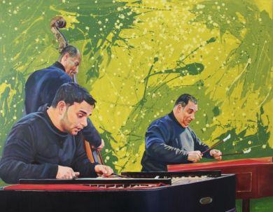 Street musicians playing hungarian cimbaloms and contrabass. Pintura de músicos callejeros tocando címbalos y contrabajo.