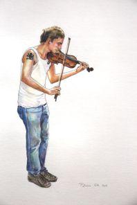 Street musician drawing. Dibujo de músico callejero.