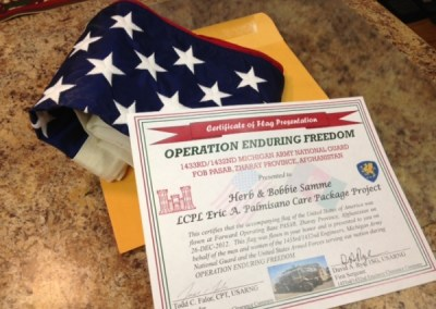 Thank you flag and certificate from 1432d