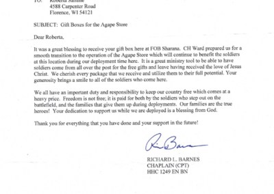 Thank You from Chap. Barnes
