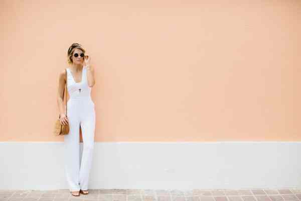 Bebe White Jumpsuit | Palms to Pines