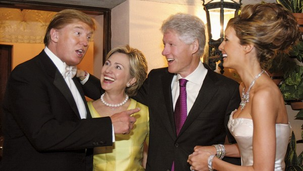 PALM BEACH, FL: Newlyweds Donald Trump Sr. and Melania Trump with Hillary Rodham Clinton and Bill Clinton at their reception held at The Mar-a-Lago Club in January 22, 2005 in Palm Beach, Florida.