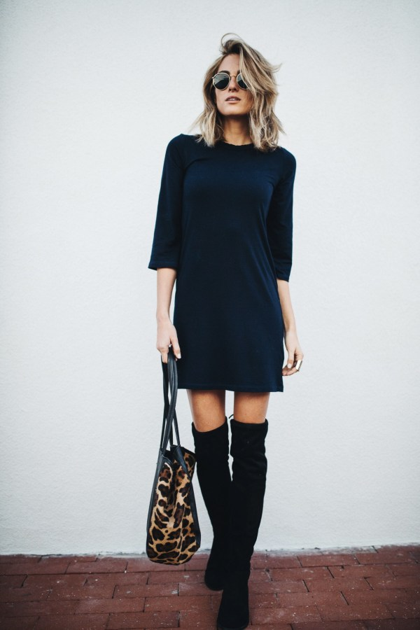Monrow Long Sleeve Mini Dress | Over the Knee Boots
