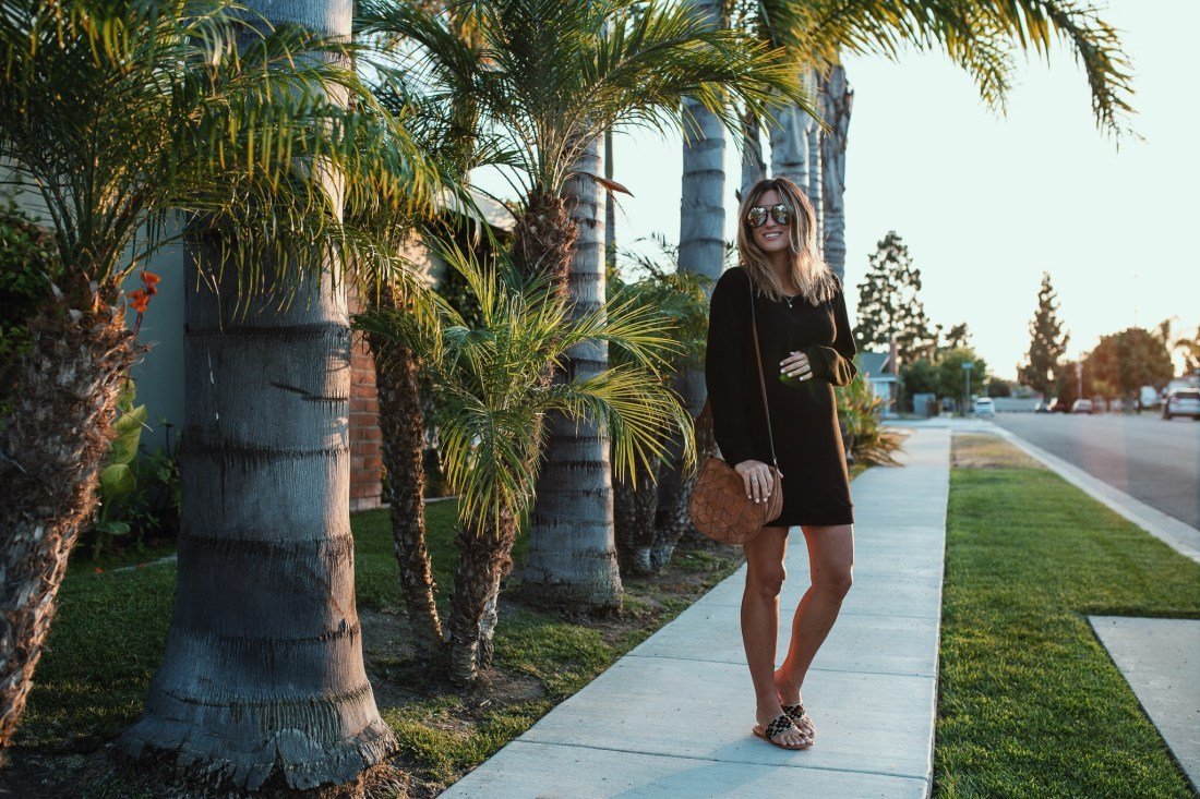 Black Sweatshirt Dress Maternity