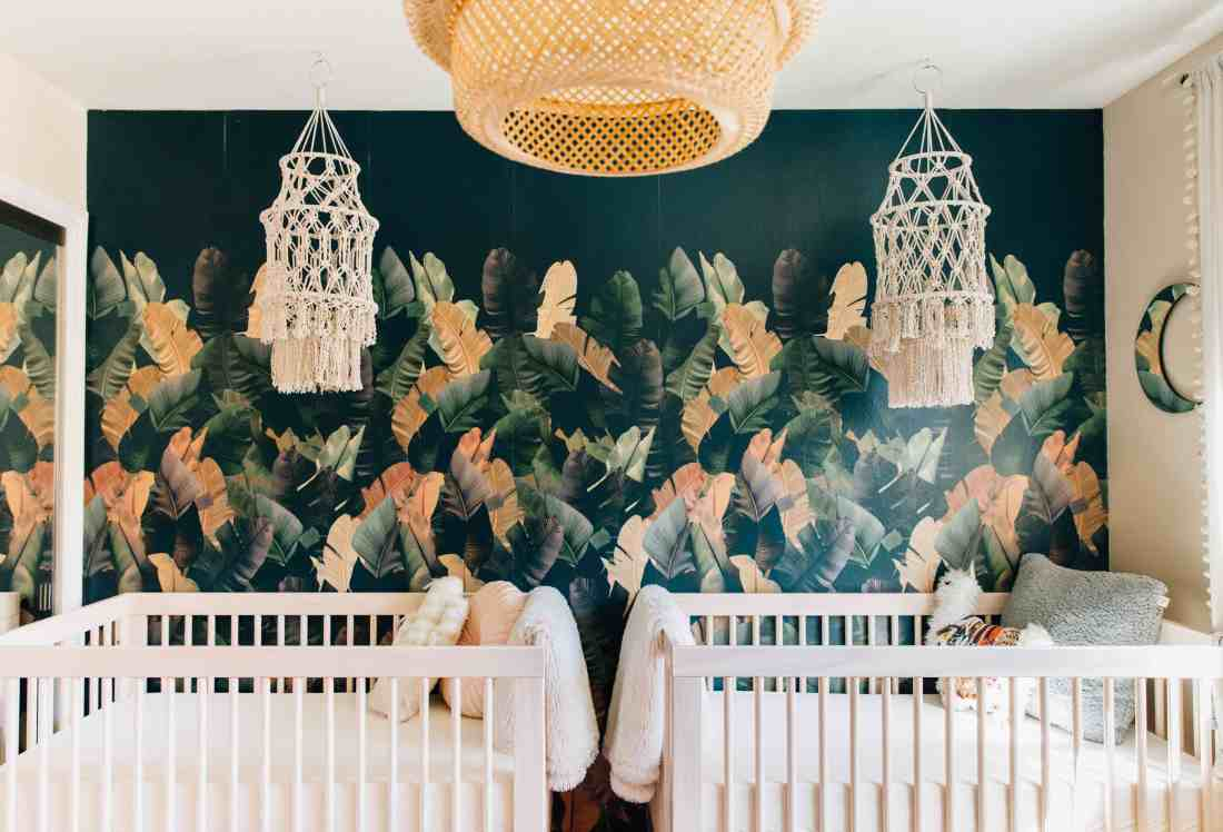 Palms to Pines Nursery Reveal | Romy and Piper | Twin Girls Bohemian Tropical Nursery