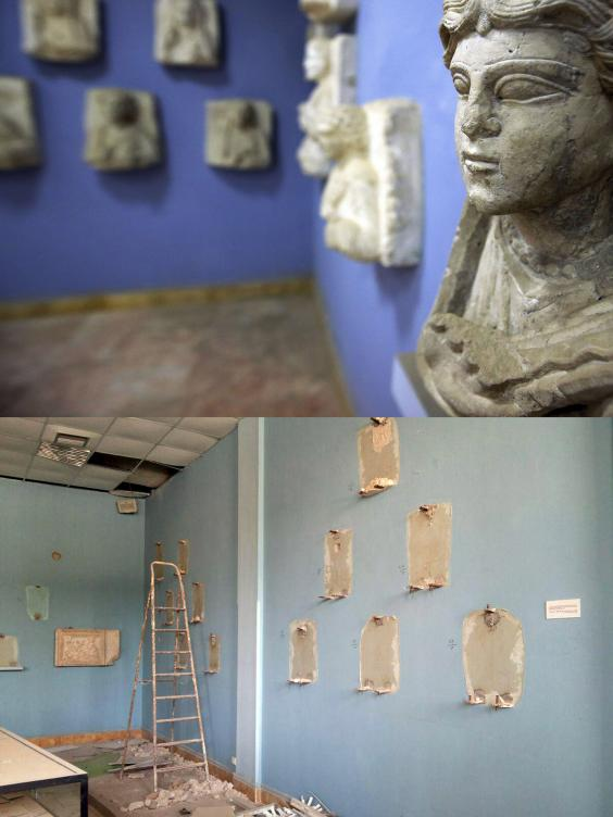 The once vibrant museum is now full of empty displays after the destruction of artefacts