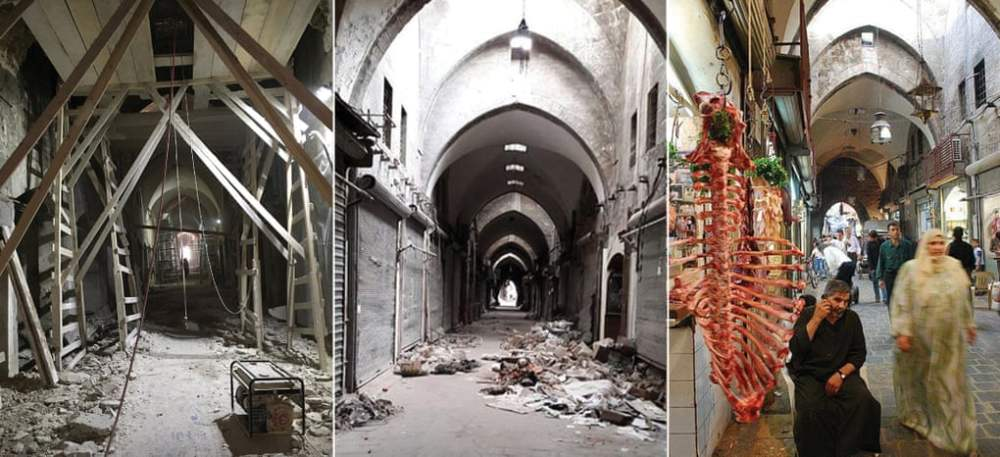 A sequence showing the restoration of the Al-Saqatiyya Souk