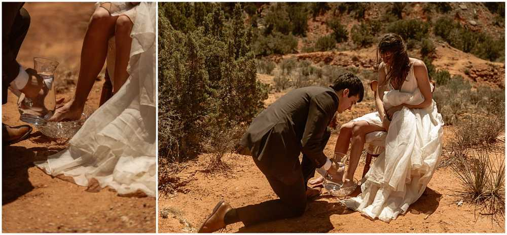 washing the brides feet, Micro Wedding, Palo Duro canyon wedding, palo duro canyon elopement, sunrise wedding. texas adventure wedding, places to get married in texas, brit nicole photography, small wedding with family