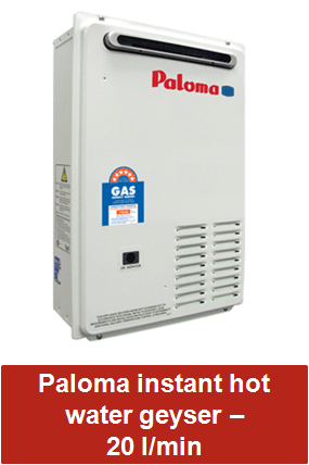 Paloma instant hot water geysers 20 litre per minute