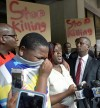 Alton Sterling&#39;s son cries as his mother&nbsp;speaks at a Louisiana press conference.&nbsp;(Bill Feig/The Advocate)</p>