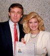 Donald Trump poses with his then-wife, Ivana, outside the federal courthouse after she was sworn in as a United States citizen in 1988. (AP File)</p>