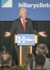 Bill Clinton responds to being interrupted by Black Lives Matter protestors during a rally yesterday in Philadelphia. (Ed Hille/The Philadelphia Inquirer via AP)</p>