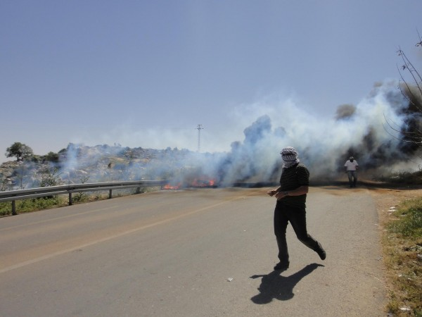 Tear gas fired onto the road at the end of today's demonstration