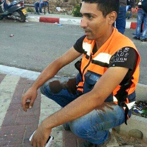 Ahmad in his work as a medic at demonstrations near Ramallah in October