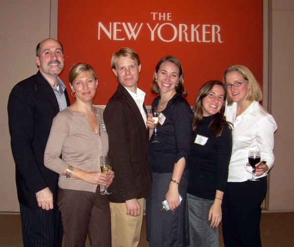 PAMA board members and the Book Publishing Director of the New Yorker at the New Yorker-sponsored cocktail party in November 2006. Left to right: David Nudo of Publishers Weekly, Lauren Hoffman of HarperCollins Children's Books, Jason Britton of Verso Advertising, Erin Cox of the New Yorker, Lori McCarthy of Spier-NY, and Melissa Lord of Bantam Dell Publishing