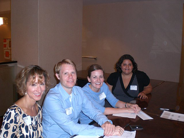 PAMA board members Roberta Reissman, Jason Britton, Gretchen Swartley, and Christine Duplessis check in luncheon attendees