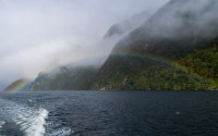 Rainbow in the mist at Doubtful Sound