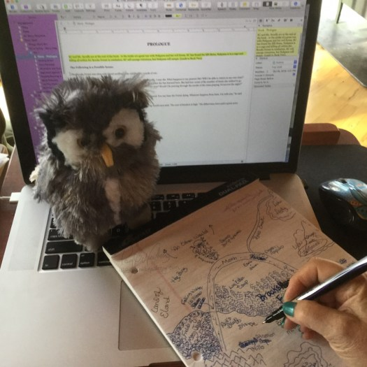 Mr. Scruffy giving me inspiration while I design the map of Eldershire.