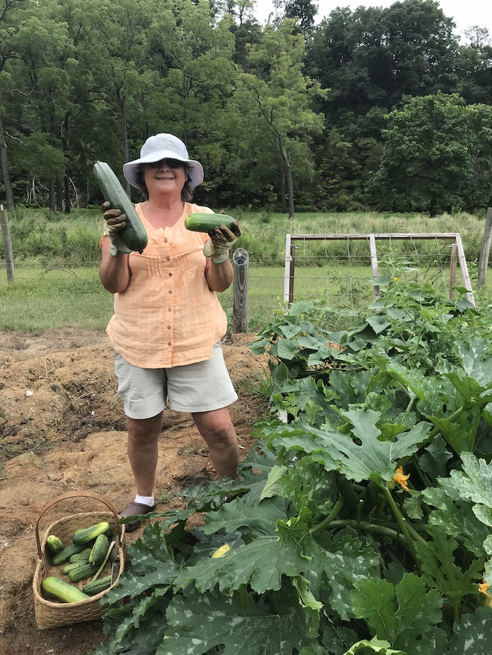 Pam in her garden.