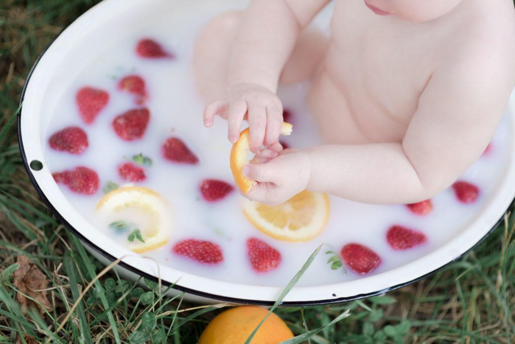 Baby Fruit Bath Photography