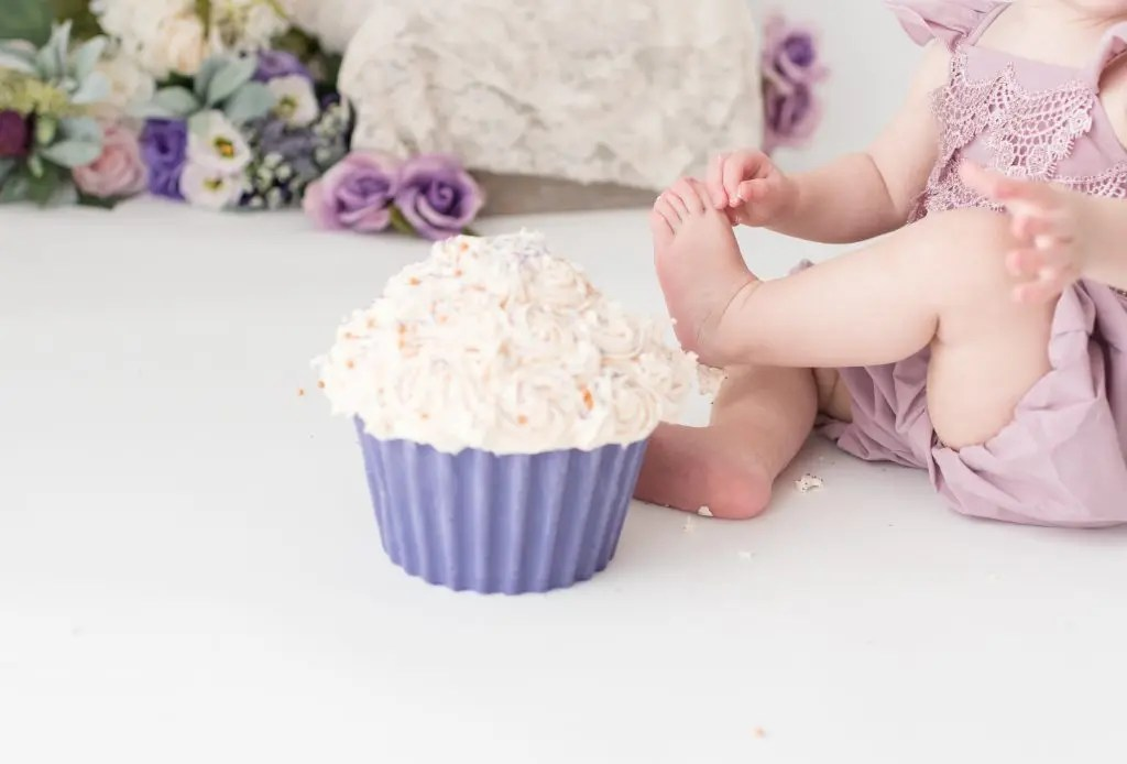 One Year Old Birthday Session Purple