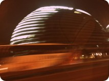 New architecture in Beijing. Caught this quick pic from a taxi of the Wangjing SOHO building.